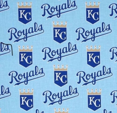 "MLB KC Kansas City Royals  Baseball Fabric 1/4 Yard ~ 58""W"