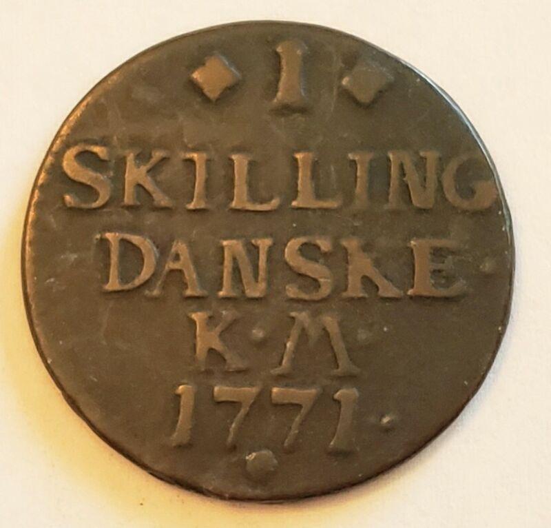1771 Denmark 1 Skilling Coin Danske KM