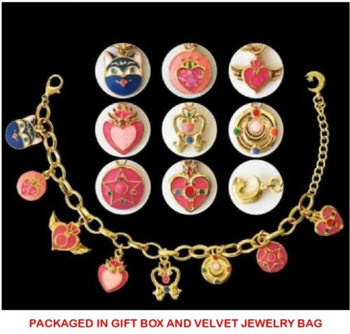 Sailor Moon 20th Anniversary 18K Gold Plated 9 Charm Bracelet in Gift Box