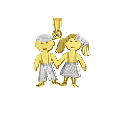14K Real Yellow Gold 2 Two Tone Small Girl & Boy Charm Pendant for (Two Tone Small Girl)