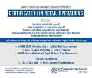 Get a job in retail - Cert III in Retail Operations  - NO COST! Meadowbrook Logan Area Preview