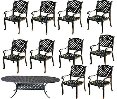 11 piece cast aluminum dining set outdoor patio furniture Nassau table chairs Cast Aluminum Dining Furniture