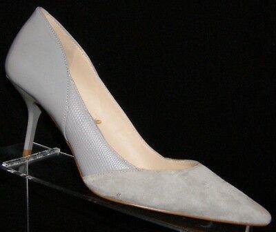 Zara Woman gray suede patent animal print v-cut slip on pump heels 6.5 EU37