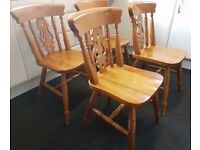 SET OF 4 COUNTRY PINE FARMHOUSE KITCHEN/DINING ROOM CHAIRS