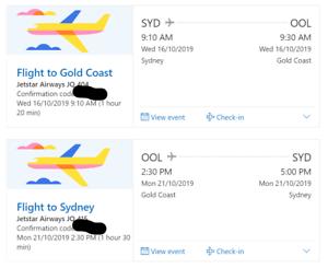 2 x Sydney to Gold Coast return flights - 16th - 21st Oct