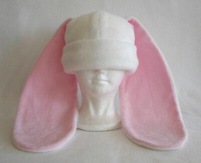 Rabbit Hat Costume (Long ear BUNNY rabbit HAT beanie WHITE & PINK anime cosplay Roger Rabbit)