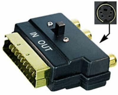 Adaptador euroconector a 3 RCA interruptor dorado. Euroconector