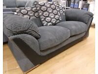2 Seat Grey and Black Sofa