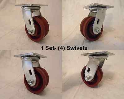 4 X 2 Swivel Caster 78 V-groove Ductile Steel Wheel 1250 Lbs Each 4