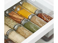 Set of 9 New Chrome Coloured Lids Refillable Clear Glass Spice Herbs Jars Holders.