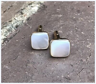 Vintage  Solid 9ct Gold Mother of Pearl Mens Womens Cufflinks