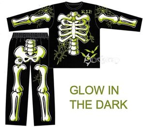 Boys-Skeleton-Halloween-Glow-in-the-Dark-Long-Pyjamas-Ages-3-10-Years