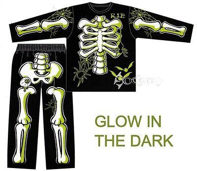 Kids Boys Skeleton Halloween Glow in the Dark Long Pyjamas Ages 3-12 - Glow In The Dark Skeleton Pajamas Boys
