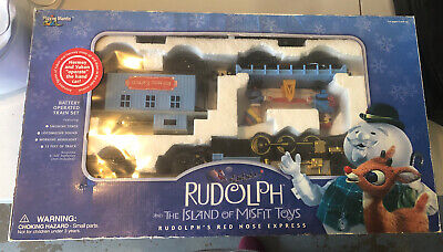 Working Vintage Rudolph's Red Nose Express Train Set in Box Complete Set