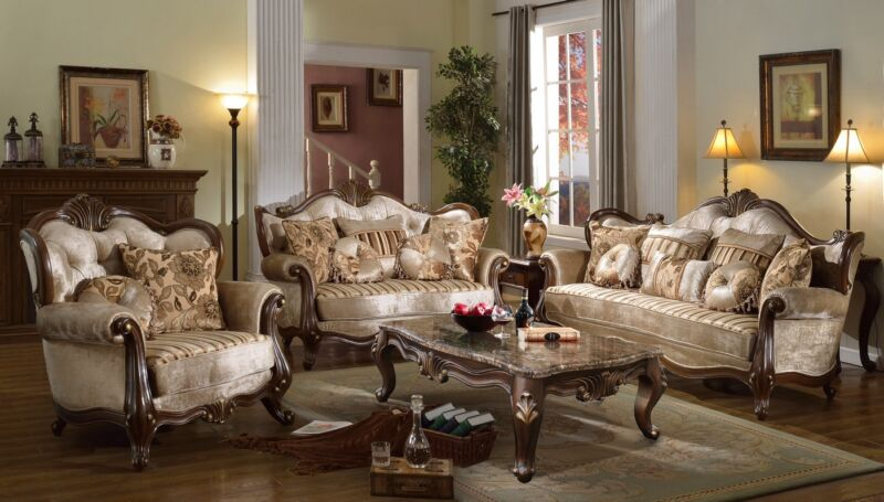 Marseille French Provincial 4-pc Beige Sofa Set In Chenille And Dark Solid Wood