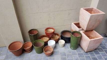 Mixed clay and ceramic pots