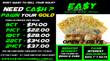 $$ PAWN OR SELL SCRAP OR QUALITY GOLD FOR CASH - PERTH - 7DAYS $$