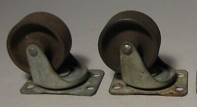 Two Vintage Bassick 2 Cast Iron Wheel Swivel Casters Industrial
