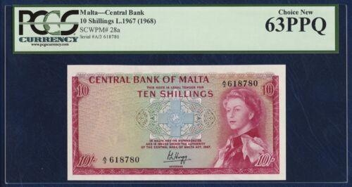 MALTA 10 SHILLINGS PICK 28 QUEEN ELIZABETH II 1967 - 1968 PCGS 63 CHOICE NEW PPQ