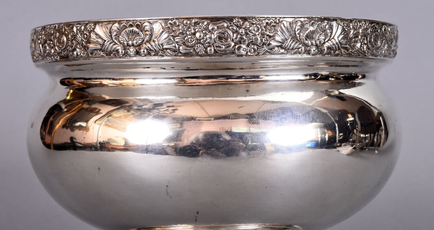 J. STODDER New York Antique Coin Silver Footed Bowl w/ Ornate Borders 19.96 ozt