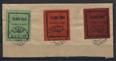 Gebührenmarken Halle (Mache) auf Briefstück (B05448)