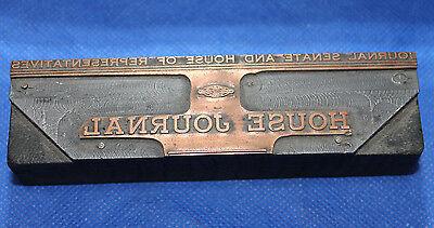 Vintage Letterpress Printers Block House Journal Union Label Senate Copper Wood