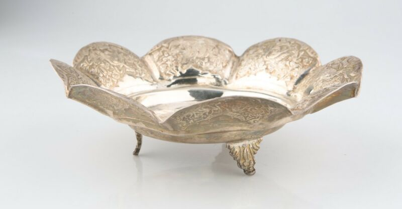 Antique Persian Silver Repousse Bowl w/ Birds & Flowers (185g) 0.900 Silver