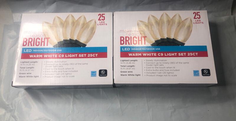 """2-,NEW Make Season Bright"" 25 Ct String Lights Warm White ( Lot Of 2 )"