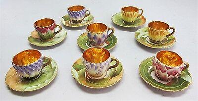 Rare Set of Eight CARLESBAD ART NOUVEAU Austrian Floral Teacups c. 1910  antique