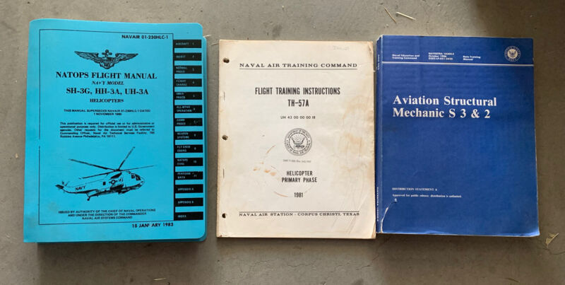 Vintage 1970s 80's Sikorsky SH-3G HH-3A UH-3A Helicopter Flight Manuals