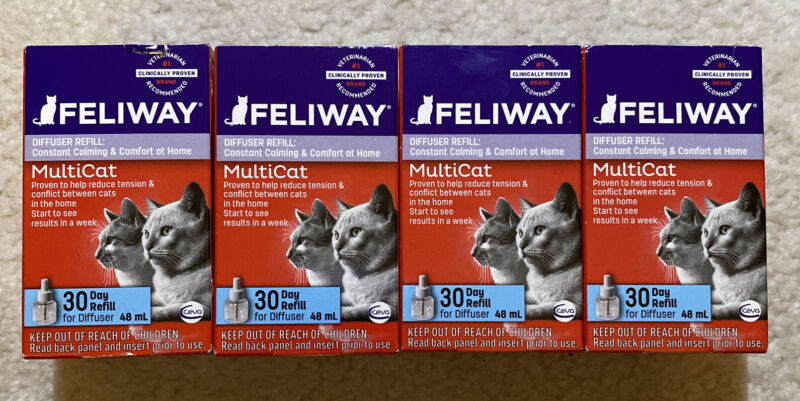 feliway multicat diffuser refill (4 boxes) FAST SHIPPING!