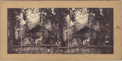 Coffee Fashion Scene Artistic Photo Stereo Vintage Albumin ca 1860