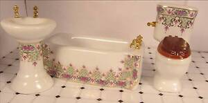 Dollhouse Furniture 3 pc Ceramic Bathroom Fixtures Sink Toilet Bathtub