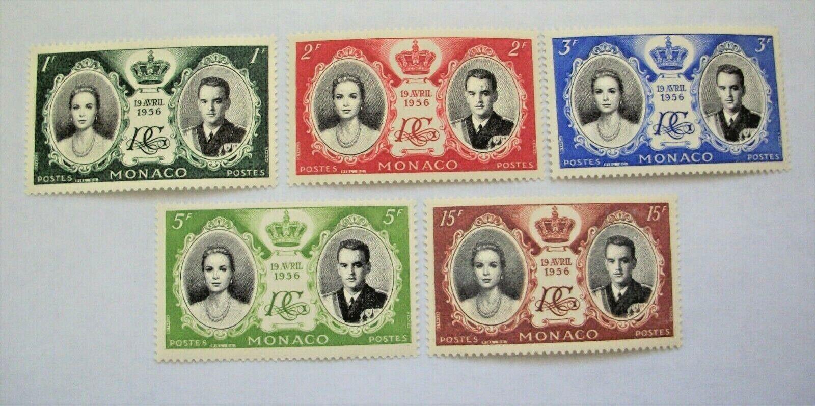 Monaco-1956-MNH - Set/5 Sc 366-370-Wedding Of Grace Kelly - $1.51
