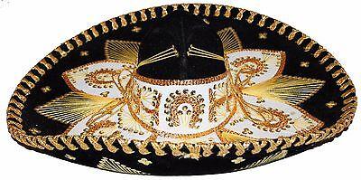 Youth Mexican Mariachi Hat Sombrero Charro Cinco de Mayo Folk Art Black Gold (Cinco De Mayo Hat)