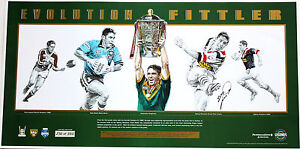 New Evolution Brad Fittler Hand Signed Sydney Roosters NSW Blues Lithograph
