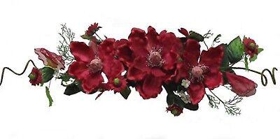 26' Burgundy Silk Flower Magnolia Swag Wreath Home Wedding Centerpiece Arch Deco - Silk Flower Wreaths