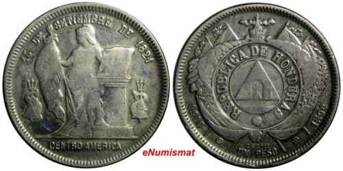 Honduras Silver 1892/0 1 Peso OVERDATE SCARCE  KM# 62