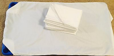 7 White Daycare cot sheets standard size 22x52 elastic all4 side
