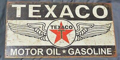 Vintage 40's Texaco Motor Oil Gasoline Metal Garage Sign Original