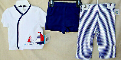 LITTLE ME 100% Cotton Navy 3 pc SAILING DIAPER PANT SET  BOY SIZE 6 Mo NWT