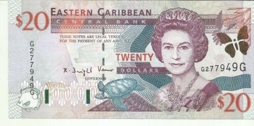 EASTERN CARIBBEAN 20 DOLLARS 2000  P 39. GRENADA. UNC CONDITION. 8RW 25OCT