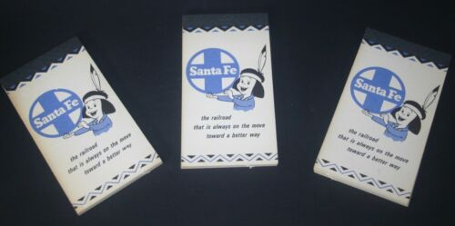 1950s Santa Fe Railway  Always on the Way Unused Notebook  Note Pad 3 Vintage