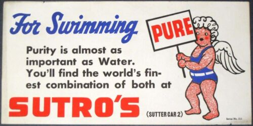 """1930s SUTRO BATHS~ANGEL w/PURE WATER SIGN~RARE 8"""" x 16"""" ANTIQUE STREETCAR POSTER"""
