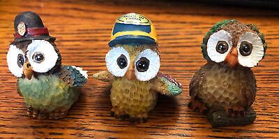 Thimbles 3 Resin Owl Figurines