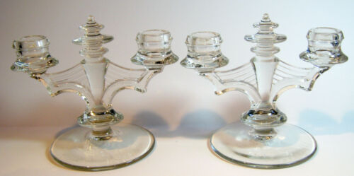 Vintage Glass Double Candlesticks Space Age Art Deco Look