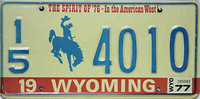 Wyoming  License Plated Original Nummernschild  USA 4010 ORIGINALBILD