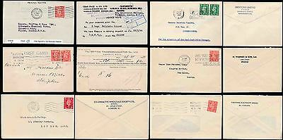 GB PERFINS 6 ITEMS PROVING + CONFIRMING COVERS on BACKS KG6 ISSUES 1940-58