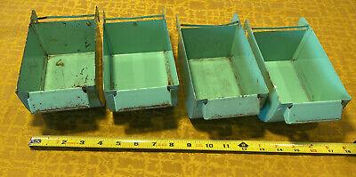 Lot Of 4 Vintage Green Industrial Metal Storage Bin Tiny House Van Life