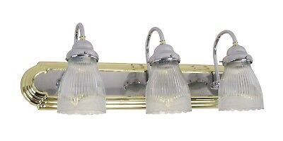 3 Light Polished Brass And Chrome And Clear Ribbed Shell  Glass Vanity Bath Wall